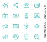 set of 16 trade outline icons... | Shutterstock .eps vector #702067741