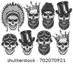 set of different skull... | Shutterstock .eps vector #702070921
