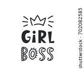 girl boss card. cute... | Shutterstock .eps vector #702082585