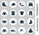 clothes icons set. collection... | Shutterstock .eps vector #702084019