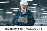 senior engineer in hardhat is... | Shutterstock . vector #702101371