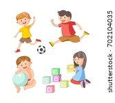 children little boys girls... | Shutterstock .eps vector #702104035