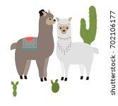 vector cute alpaca. llama... | Shutterstock .eps vector #702106177