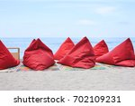 a lot of bean bags and table... | Shutterstock . vector #702109231