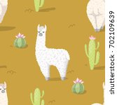seamless pattern with alpaca  ... | Shutterstock .eps vector #702109639