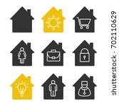 houses glyph icons set.... | Shutterstock .eps vector #702110629