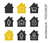 houses glyph icons set....   Shutterstock .eps vector #702110629