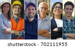 a collage of professions  a... | Shutterstock . vector #702111955