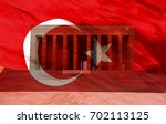 anitkabir with turkish flag   ... | Shutterstock . vector #702113125