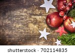 red apple on the wooden... | Shutterstock . vector #702114835