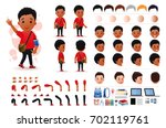 little black african boy... | Shutterstock .eps vector #702119761
