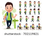 ready to use little boy student ...   Shutterstock .eps vector #702119821