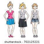 happy young adult girls female... | Shutterstock . vector #702125221