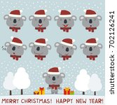 merry christmas and happy new... | Shutterstock .eps vector #702126241