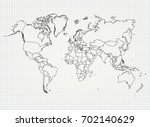 the political map of the world... | Shutterstock .eps vector #702140629