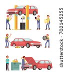 car repair auto service with... | Shutterstock .eps vector #702145255