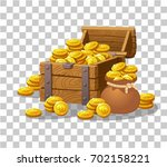 wooden chest set for game... | Shutterstock .eps vector #702158221