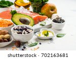 low cholesterol food. healthy... | Shutterstock . vector #702163681