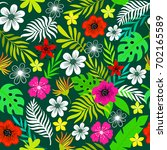 tropical pattern with flowers... | Shutterstock .eps vector #702165589