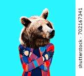 Hipster Bear. Minimal Collage...