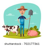 funny farmer. cartoon vector... | Shutterstock .eps vector #702177361