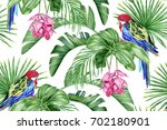 red parrot  tropical flowers... | Shutterstock . vector #702180901