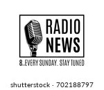 vector radio news logo with... | Shutterstock .eps vector #702188797