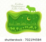 qurban day greeting message... | Shutterstock .eps vector #702194584