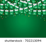 garland flags with dark green... | Shutterstock .eps vector #702213094