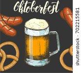 oktoberfest seamless pattern on ... | Shutterstock .eps vector #702215581