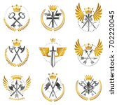 vintage weapon emblems set.... | Shutterstock . vector #702220045