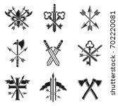 vintage weapon emblems set.... | Shutterstock . vector #702220081