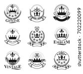 majestic crowns emblems set....   Shutterstock . vector #702220099