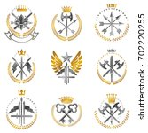 vintage weapon emblems set.... | Shutterstock . vector #702220255