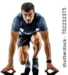 one caucasian man runner jogger ... | Shutterstock . vector #702232375