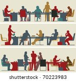 Set of three illustrated foreground silhouettes of colorful business meetings - stock photo