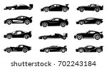 black silhouette of race cars.... | Shutterstock .eps vector #702243184