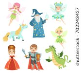 fairytale characters set in... | Shutterstock .eps vector #702243427