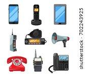 different telephones ... | Shutterstock .eps vector #702243925