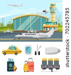 airport terminal illustration ... | Shutterstock .eps vector #702245785