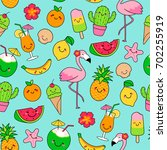 cute tropical summer cartoon... | Shutterstock .eps vector #702255919