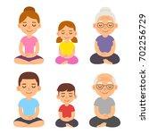 family meditating sitting in... | Shutterstock .eps vector #702256729