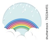 rainy over the rainbow and... | Shutterstock .eps vector #702264451