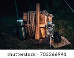 old vintage camera  map ... | Shutterstock . vector #702266941
