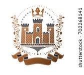ancient castle emblem. heraldic ... | Shutterstock . vector #702268141