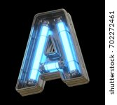 metallic futuristic font with... | Shutterstock . vector #702272461