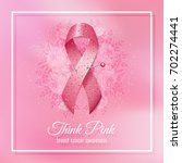 breast cancer pink ribbon with... | Shutterstock . vector #702274441