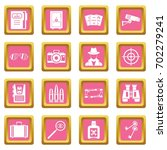spy tools icons set in pink... | Shutterstock .eps vector #702279241