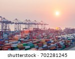 modern container terminal at... | Shutterstock . vector #702281245