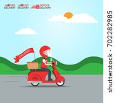 delivery ride motorcycle... | Shutterstock .eps vector #702282985